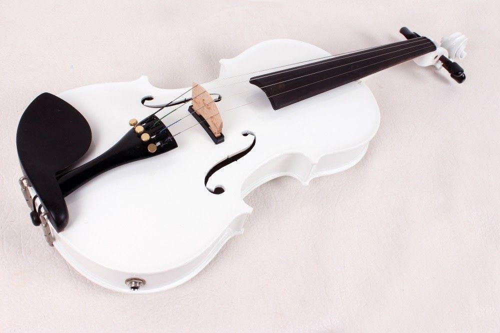 Branco 4/4 Elétrica Acústica do Violino Caso Arco feito à mão Solid Spruce bordo