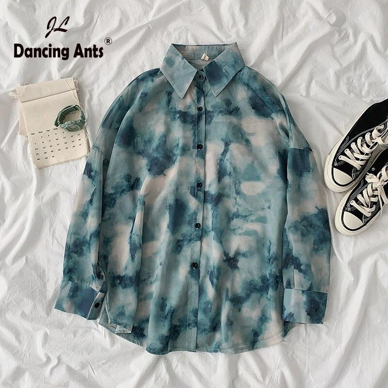 Camisetas Polo wown, nueva camisa informal de manga larga, camisa de talla grande con botones de gasa, Camiseta holgada teñida con estampado de verano para mujer