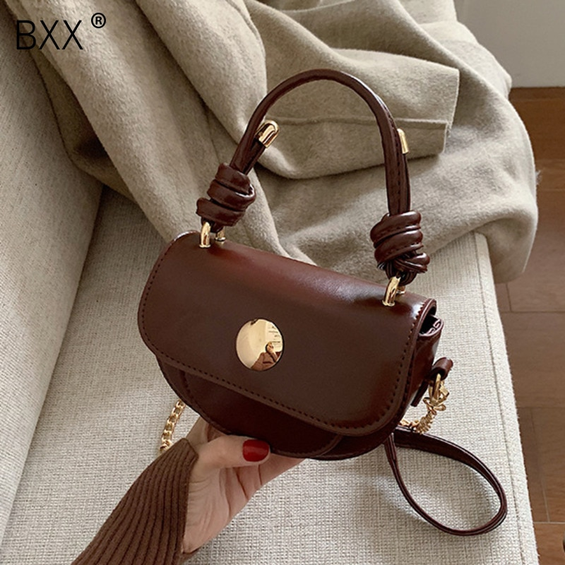 [BXX] Solid Color PU Leather Chain Crossbody Bags For Women 2021 Spring New High Quality Shoulder Bag Lady Travel Handbags HK746