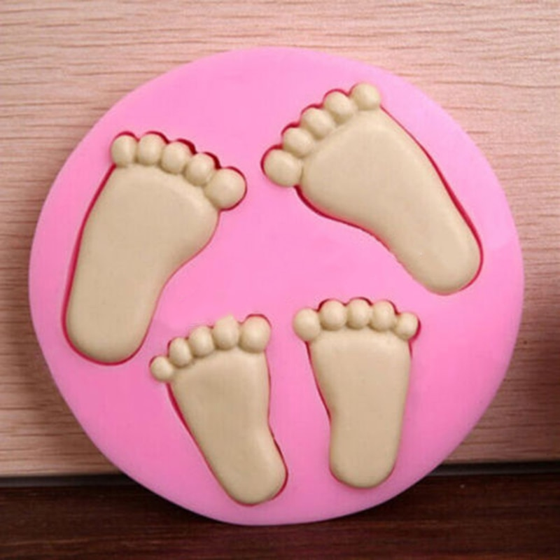 Molde de silicone bonito do pé do bebê para a decoração do bolo fondant 3d pés molde moldes de silicone cozimento bolo rosa ferramentas de decoração
