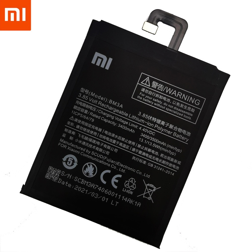 2021 Years 100%Original BM3A For Xiaomi Mi Note 3 Replacement 3300mAh High Capacity Phone Batteries +Free Tools enlarge