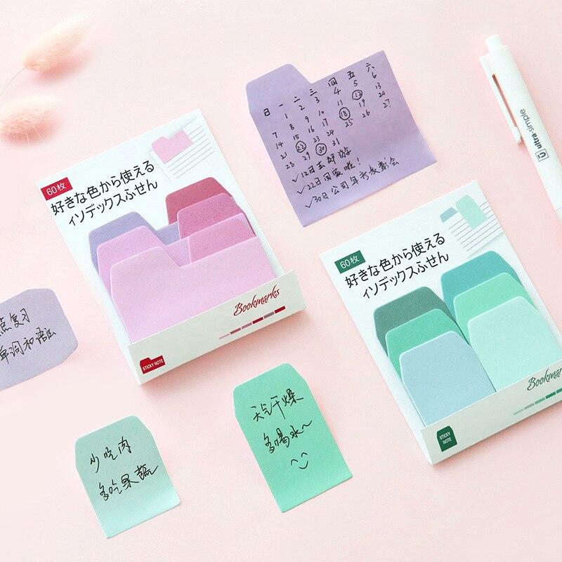 60 unids/set de bloc de notas de Color de agua Arco Iris costura Bloc de notas adhesivas nota Kawaii papelería suministros para estudiantes