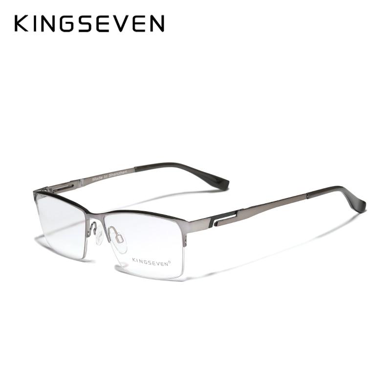 KINGSEVEN Men's Glasses Pure Titanium Half Frame Fashion Trending Eyewear Myopia Custom Prescription