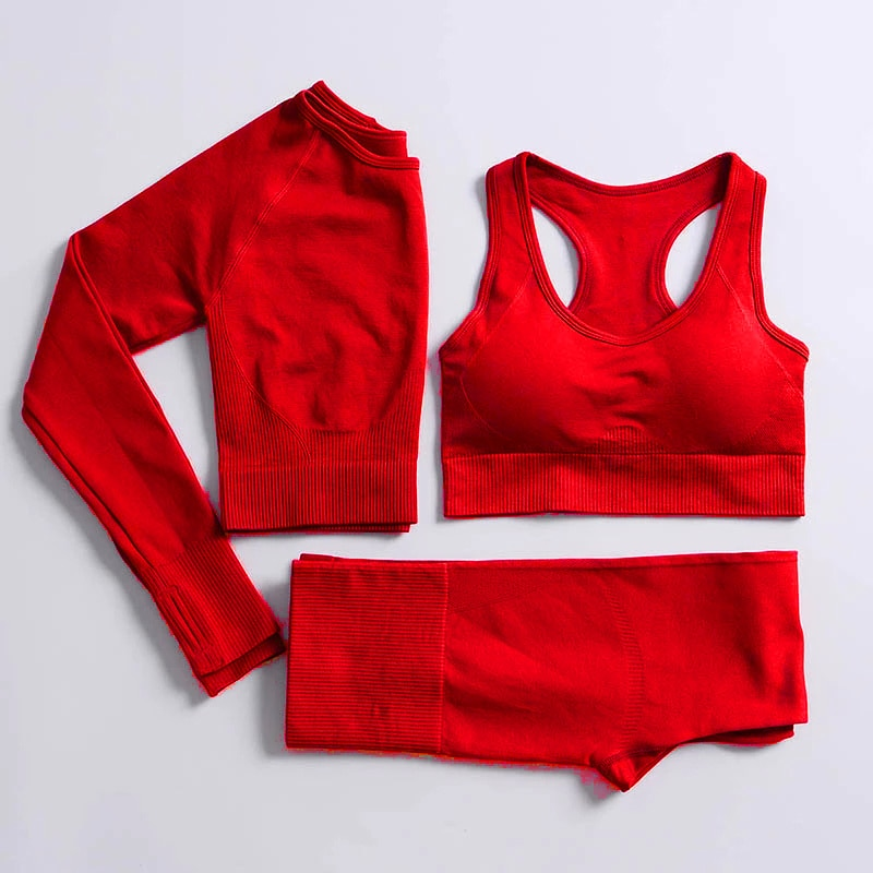 Energy-conjunto Deportivo De Yoga Sin Costuras Para Mujer, Ropa De Gimnasio, Top Corto De Manga Larga, Leggings De Cintura Alta,