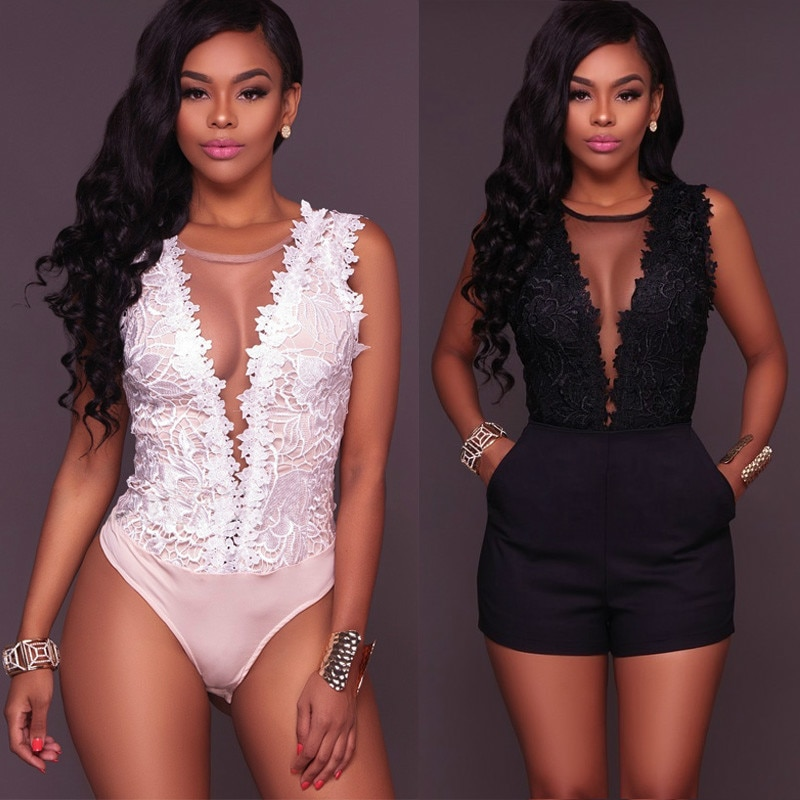 embroidered lace bodysuit women hollow out sexy deep v neck jumpsuit bodycon bodysuit sleeveless summer romper combinaison beach Sexy Lace Floral Bodysuit Women Summer Sleeveless V Neck Bodycon Bodysuit Jumpsuit Tops Party wedding Clothing Femme