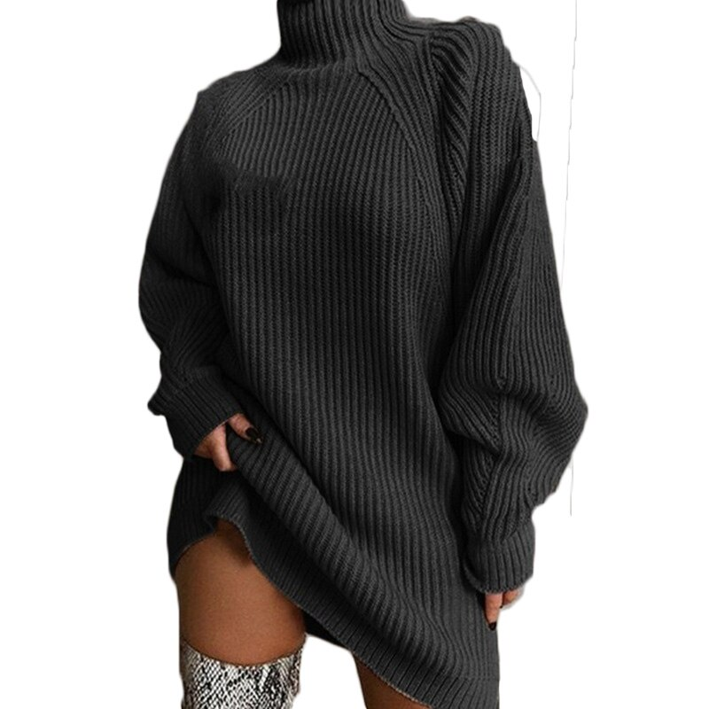 Sweater Dress Female 2021 Autumn And Winter New Product Striped Mid-Length Raglan Sleeve Half High Neck Clothing  T26 gauzy raglan sleeve crane pattern tied dress
