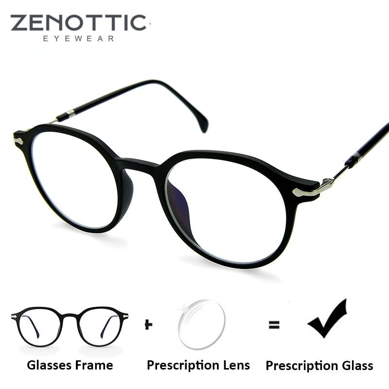 ZENOTTIC Round Prescription Glasses Men Women Anti-Blue-Ray Photochromic Eyeglasses Frame Retro Read