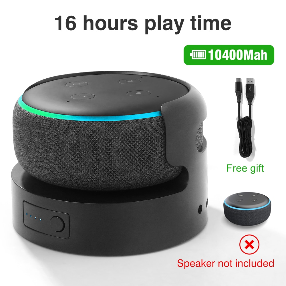 Battery Pack for Echo Dot 3rd Battery Base for Echo Dot 3 holder Mount portable Charger Docking Station accessiores enlarge
