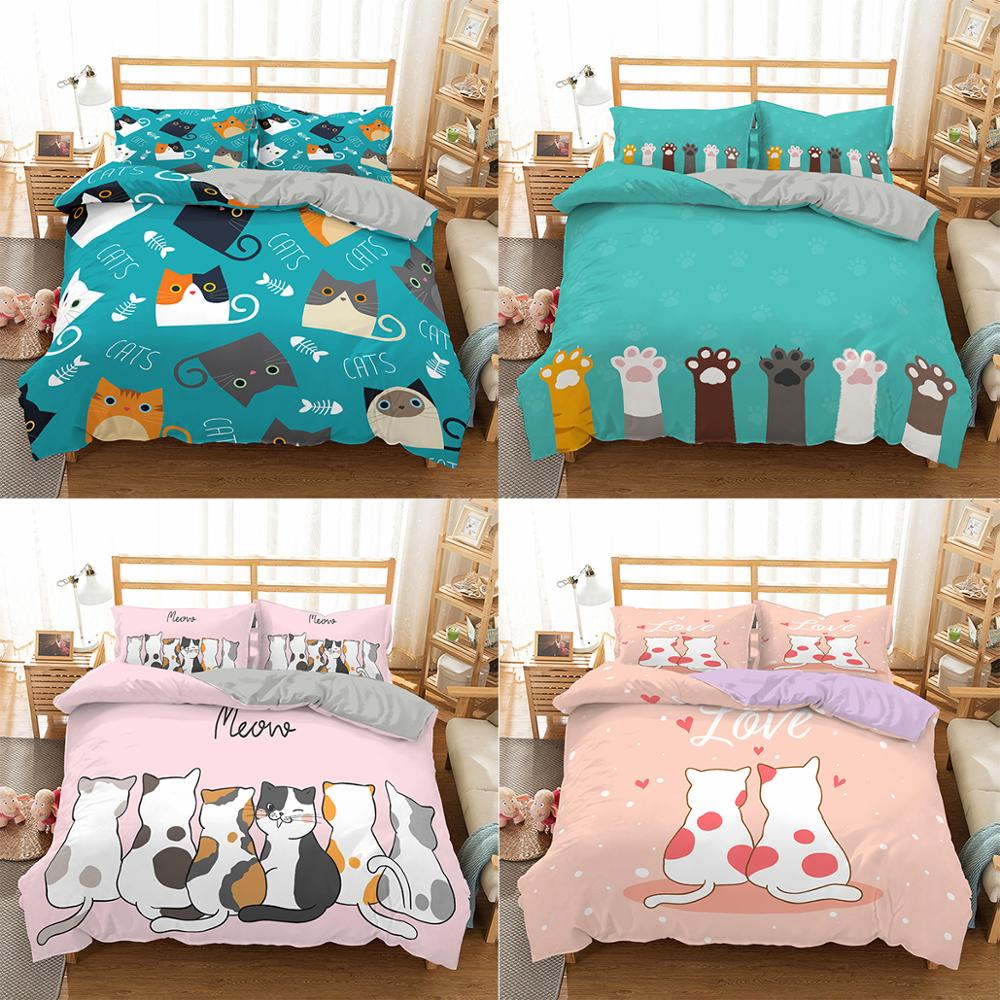 ZEIMON  Cartoon Cats Bedding Set Queen 3D Cute Animal Printed Duvet Cover Bedclothes 3pcs Home Textiles Luxury Bedspread