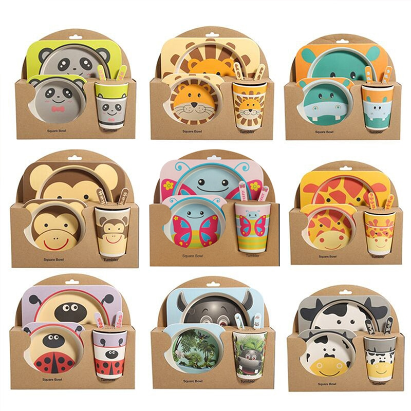 5pcs/Set Baby Dishes Set Bowl Tableware With Spoon Fork Cup Bamboo Fiber Dinner Bowl Cartoon Feeding Dishes Baby Products Gifts