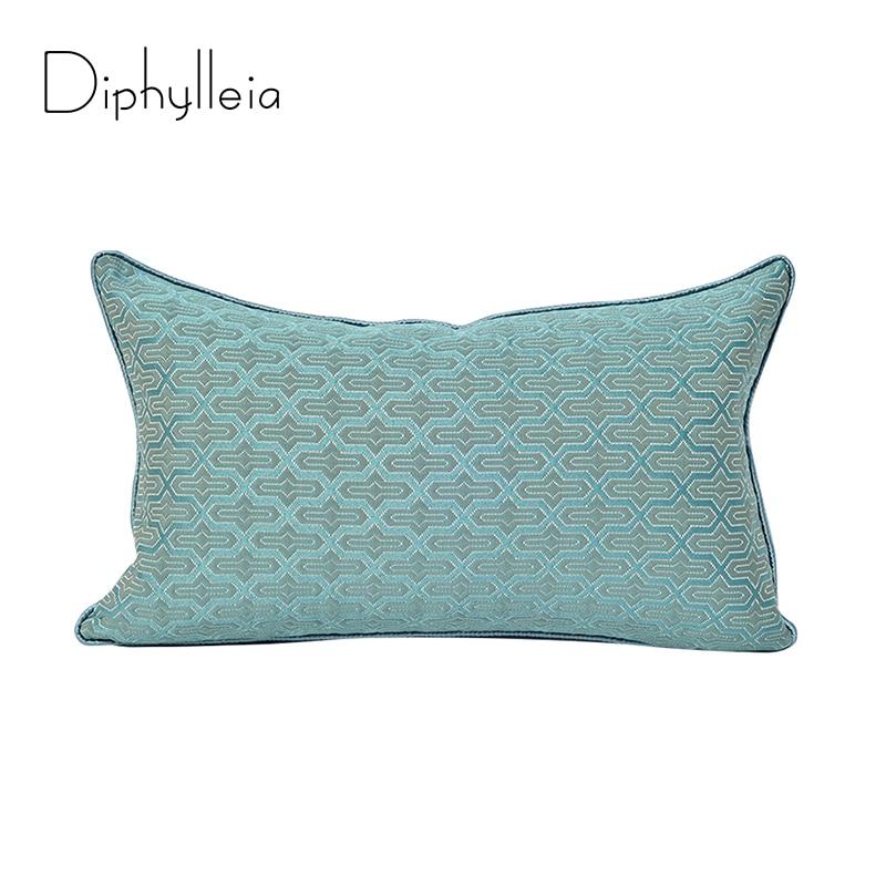 Diphylleia-غطاء وسادة من قماش الجاكار الأزرق الفاتح ، غطاء وسادة بتصميم هندسي ، جودة عالية ، توصيل مباشر