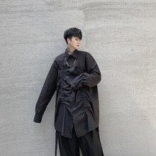 Hommes plis à manches longues décontracté hommes femmes japon Streetwear défilé de mode Punk gothique robe chemises scène vêtements