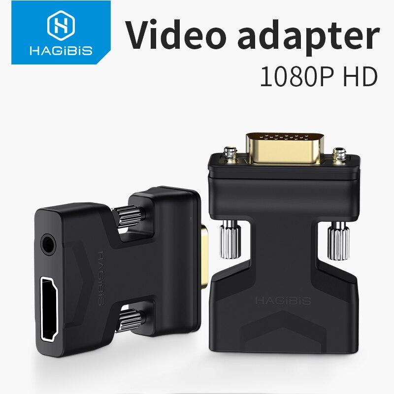 Hagibis-adaptador HDMI compatible con VGA, convertidor de vídeo hembra con puerto de...