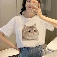 cute cat printing tshirts graphic tees tops women funny t shirt white tops casual short camisetas mujer_t shirt