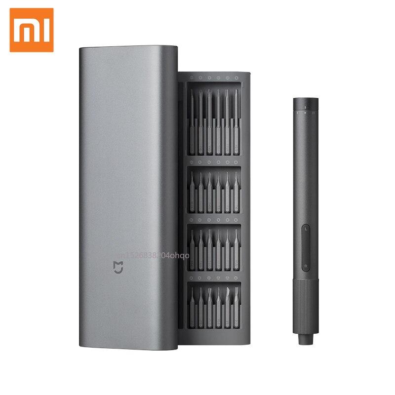 Xiaomi Mijia الكهربائية الدقة المفك كيت 2 والعتاد عزم الدوران التحكم 400 المسمار 1 نوع-C قابلة للشحن المغناطيسي الألومنيوم حالة مي