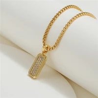 hip hop cubic zircon rectangle pendant necklace for men 3 colors stainless steel box chain choker necklace for women jewelry