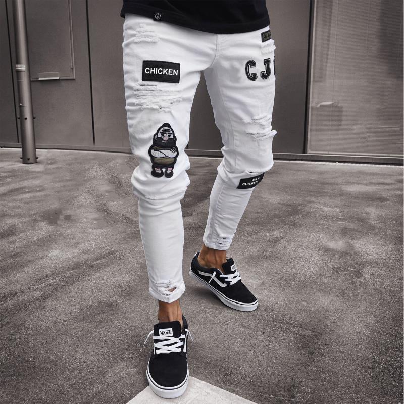 Синие классические мужские байкерские джинсы, джинсы-карандаш с вышивкой и сломанными дырками, облегающие рваные мужские джинсы до колена, ...