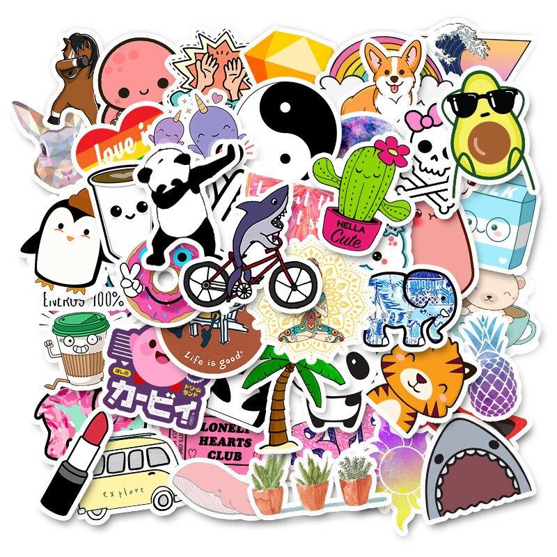 50 Uds Kawaii de pegatina de dibujos animados no repetida, impermeable y encantadora, se puede mover, publicado repetidamente ET Panda TZ038D