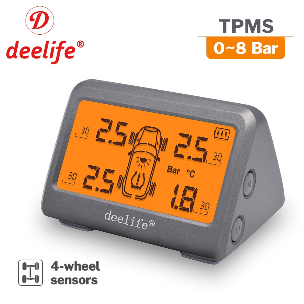 Deelife Tire Pressure Monitoring TPMS Sensor Car Solar TMPS System with 0-8 Bar Digital Gauge for Ty