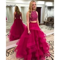yunuo two pieces beading ruffle prom evening dresses long 2021 robe de soiree ball gown o neck formal dress floor length