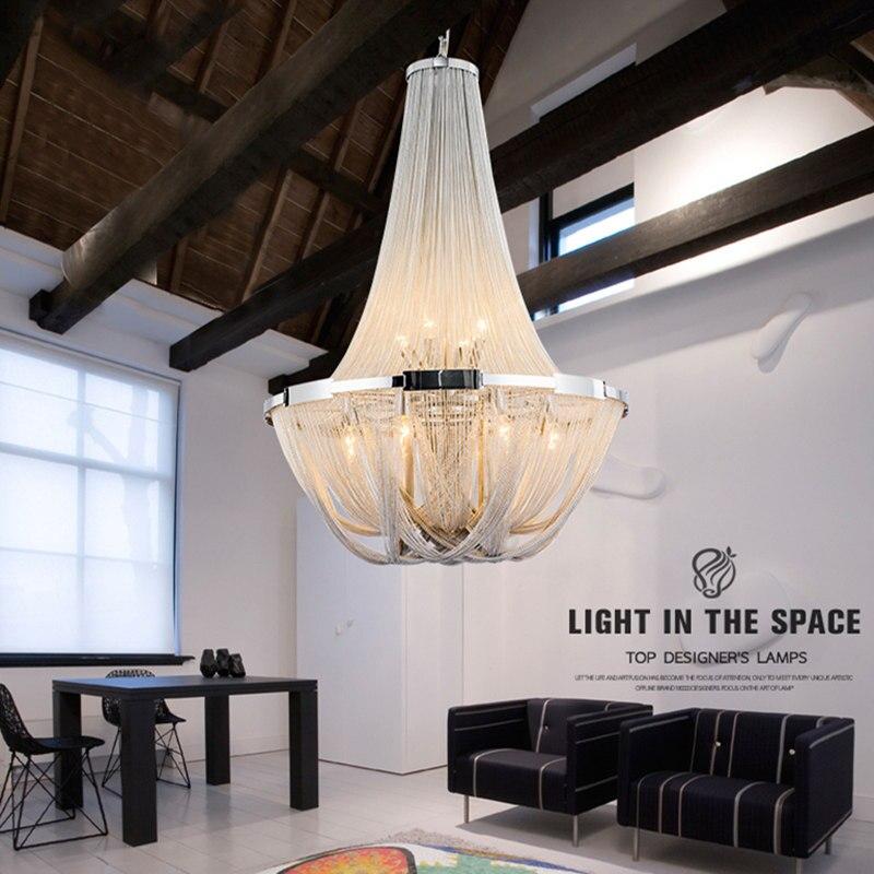 مصباح سقف بسلسلة من الألومنيوم بتصميم إيطالي فاخر ، مصباح معلق بشرابة فضية وذهبية للمطعم والفندق وغرفة المعيشة
