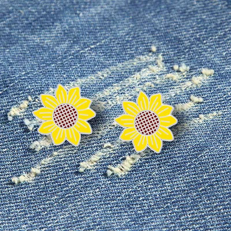 Delicada flor broches esmaltados Collar agujas camisa traje chaqueta solapa Floral broche de girasol joyería de las mujeres