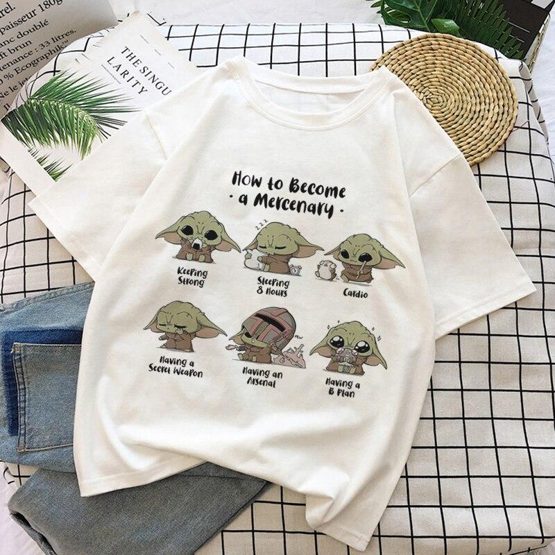 2020 camiseta mujer cómo convertirse en moda bebé Yoda camiseta estampada señora Mandalorian estilo ruso camisetas novedad suelta Kawaii