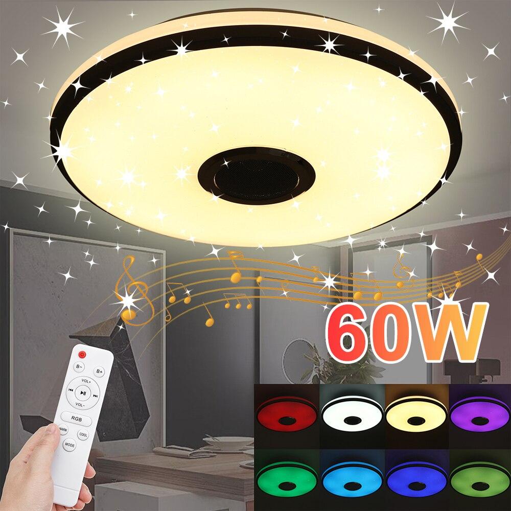 Pode ser escurecido 60w rgb led lâmpada do teto bluetooth música alto-falante app controle remoto para casa ktv bar festa luzes AC85-265V/220v