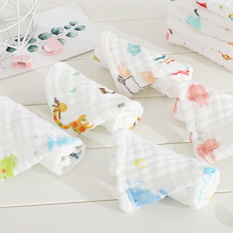 5pcs/set Baby towel 100% Cotton Square Muslin Baby Towels 6layers Water Washing Handkerchief Newborn Baby Nursing Towel 30*30cm