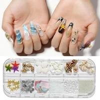 12 girds starfish conch diy art shells nail jewelry 3d nail decoration mix nail gems irregular abalone slices accessories