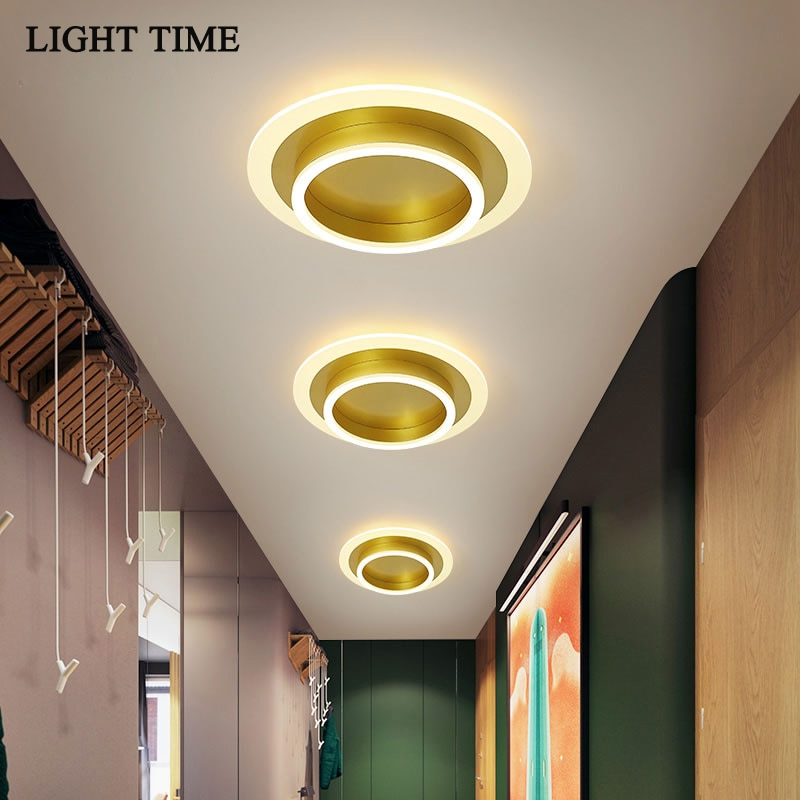 Gold Metal Round Square Modern Led Ceiling Light For Corridor Living room Dining room Aisle Acrylic Indoor Lighting Ceiling Lamp macarons ceiling lamps rose colors metal lamp body acrylic lamp shade colorful post modern ceiling light led lighting fixture