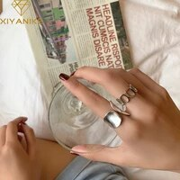 xiyanike 925 sterling silver glossy hollow geometric ring retro unique design fashion handmade jewelry index finger open ring