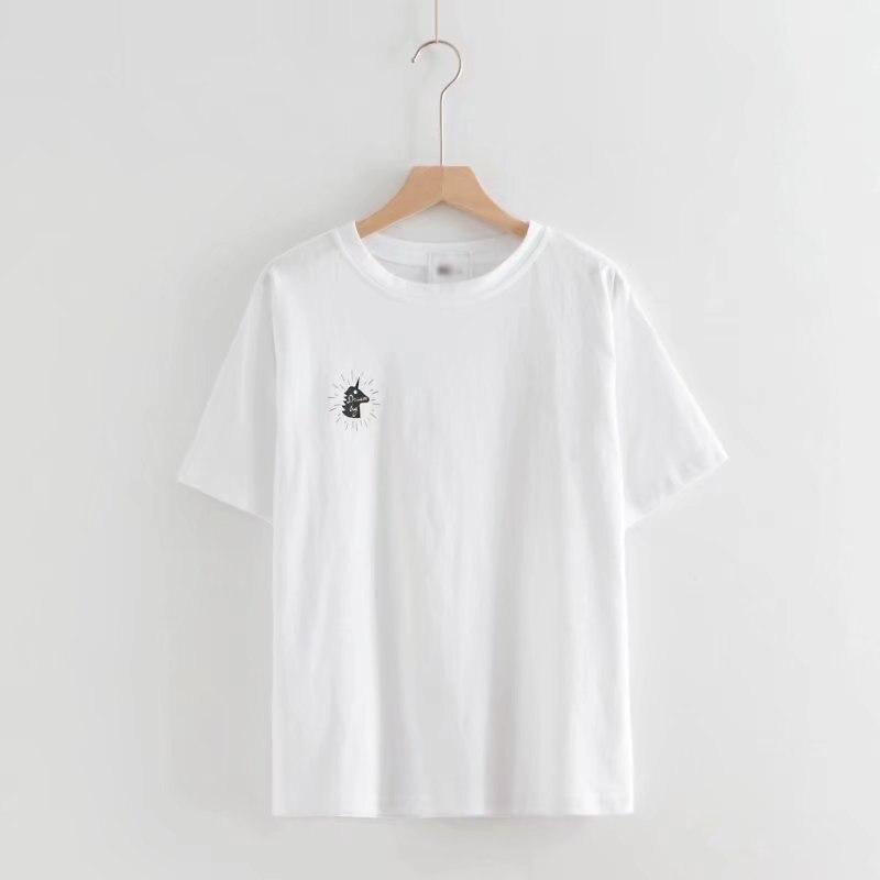 Ropa de verano 2020 de manga corta con estampado para mujer, Camiseta holgada de reparación de cuerpo y parte inferior regular para estudiantes