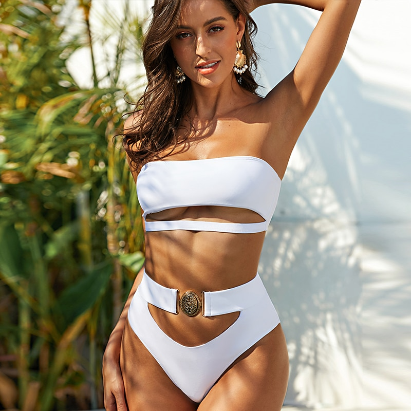 Mossha Hollow out White swimwear women High waist bikini 2020 Mujer Metal Buckle belt swimsuit women biquini female bathing suit