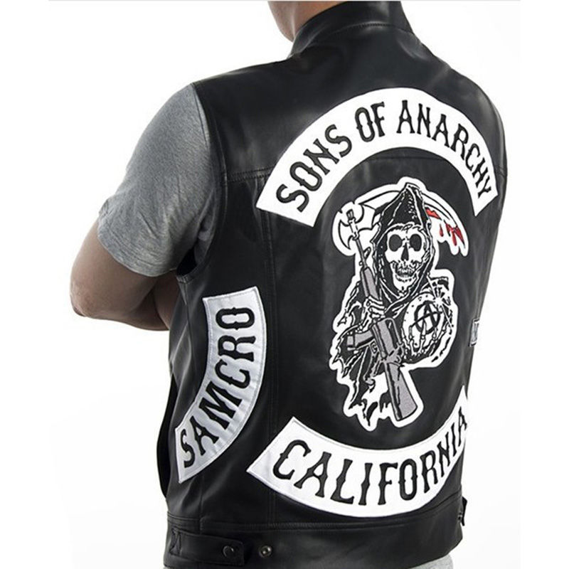 2020 New/ Sons Of Anarchy/ Embroidery Leather Rock Punk Vest Cosplay Costume Black Color Motorcycle Sleeveless Vest Jacket Men