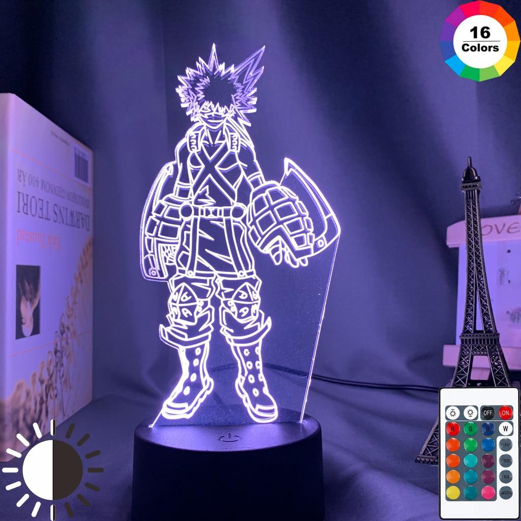 Katsuki bakugo lâmpada 3d, luz noturna led para quarto das crianças com sensor de toque, iluminação de quarto, anime, meu herói da academia, presente luz clara