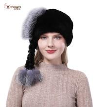 Best Selling Fashion New Authentic Real Rabbit Fur Natural Knit Fur Hat Accessories Fox Fur Cap Ladies Out Warm Cap.