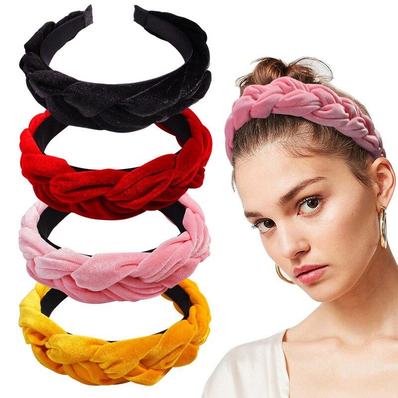 Bandas para pelo para mujer a la moda, diadema de terciopelo ancho, cintas para el pelo retorcidas para niñas, diademas cinta para el pelo, accesorios para el cabello