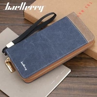 baellerry retro canvas clutch for men long zipper wallets cell phone pocket coin purse card holder for male carteira masculina