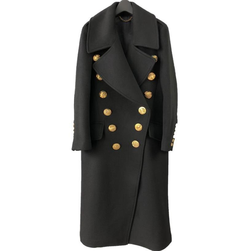 Abrigo largo abrigo de lana con botones dobles para mujer