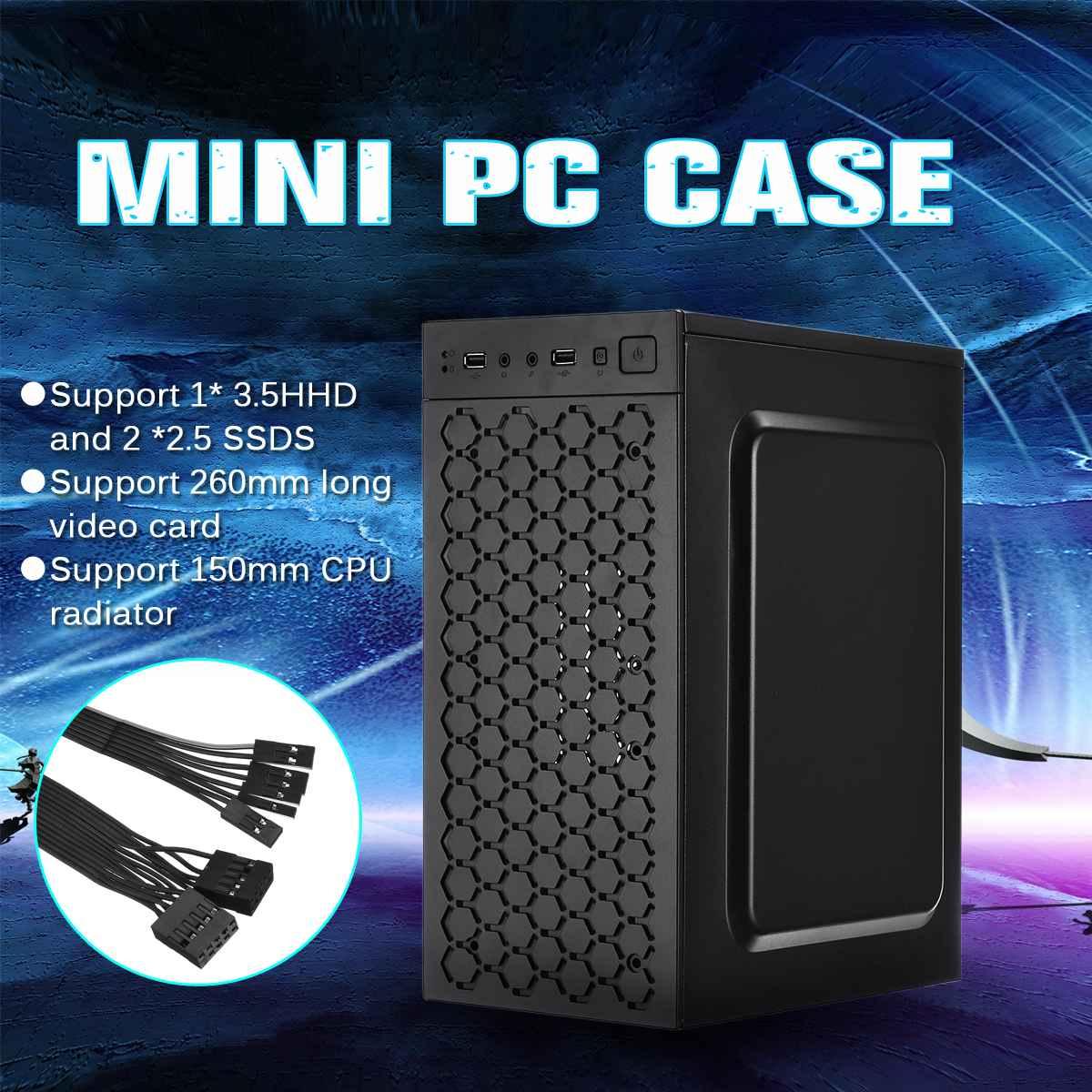 Mini funda USB2.0 chasis soporte 3.5HHD 2,5 SSDS CPU radiador Compatible con Micro/ITX Motherboard chasis de ordenador