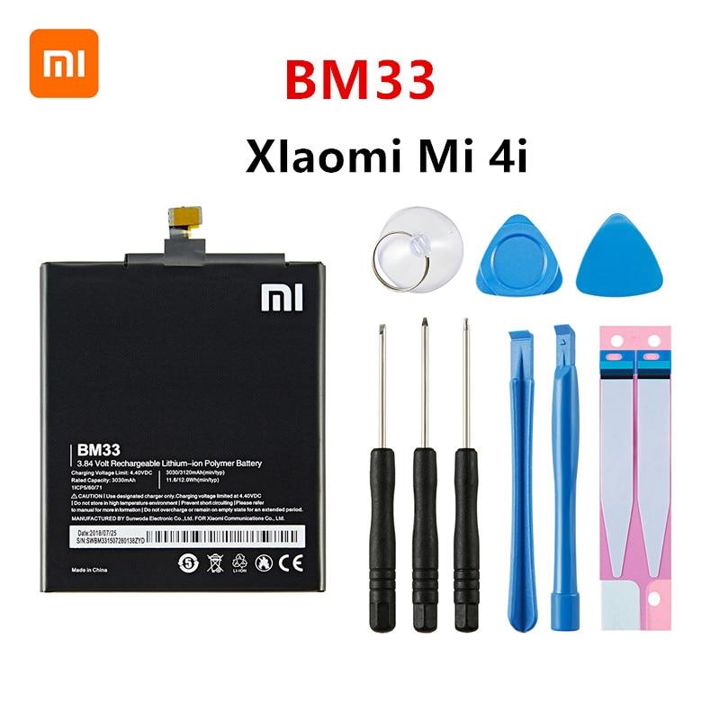 Оригинальный аккумулятор Xiao mi 100% BM33 3120 мАч для Xiaomi 4i Mi 4i Mi4i M4i BM33 высококачественные сменные батареи для телефона + Инструменты