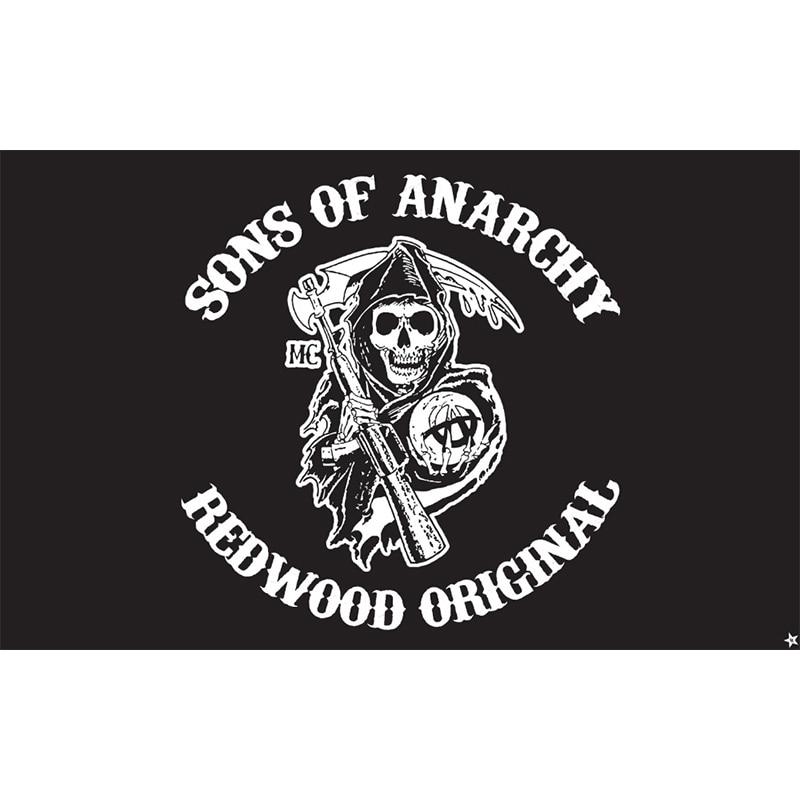 90x150cm. Los hijos de la anarquía logo gif bandera para Decoración