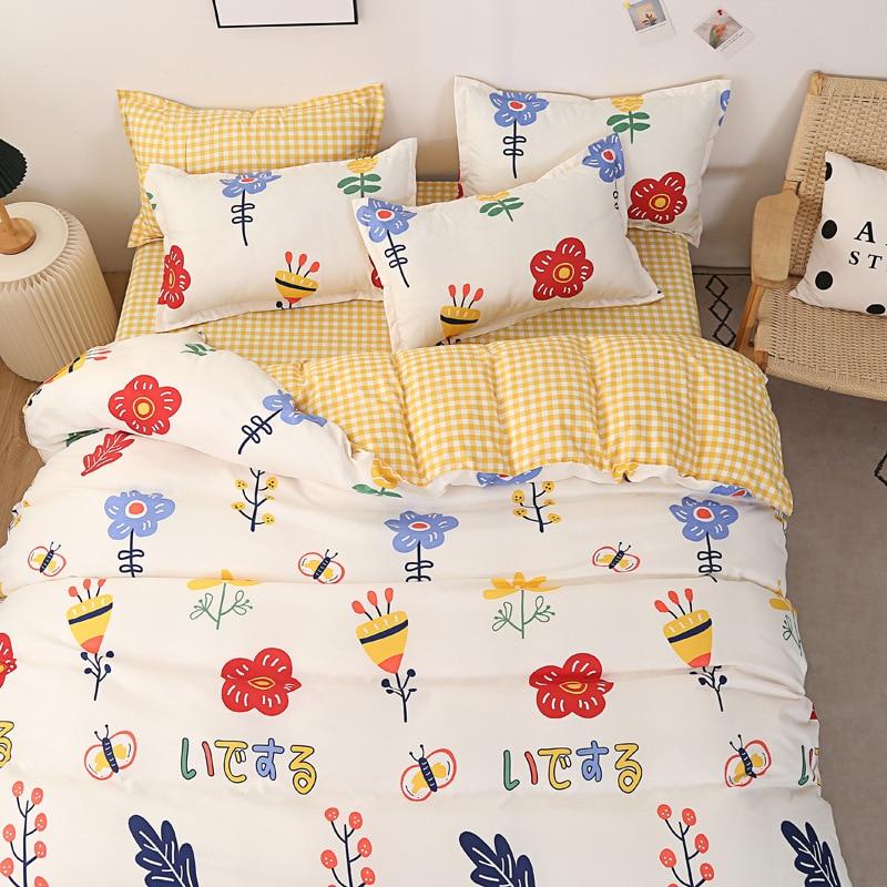 طقم سرير زهري صغير لينة الجلد ودية الطلاب أغطية سرير مجموعة 3/4 قطعة حاف الغطاء ورقة المخدة المعزي مجموعة غطاء