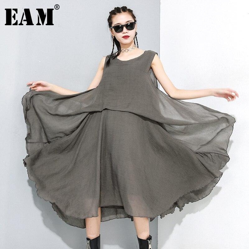 [EAM] vestido negro transparente para mujer, vestido con abertura y cuello redondo, sin mangas, suelto, a la moda, primavera 2020 1M888