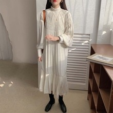 Women Vintage Long Dress Plus Size Full Sleeve Draped Elegant Roupa Feminina Pullover Ladies Party Dresses Pleated Vestidos