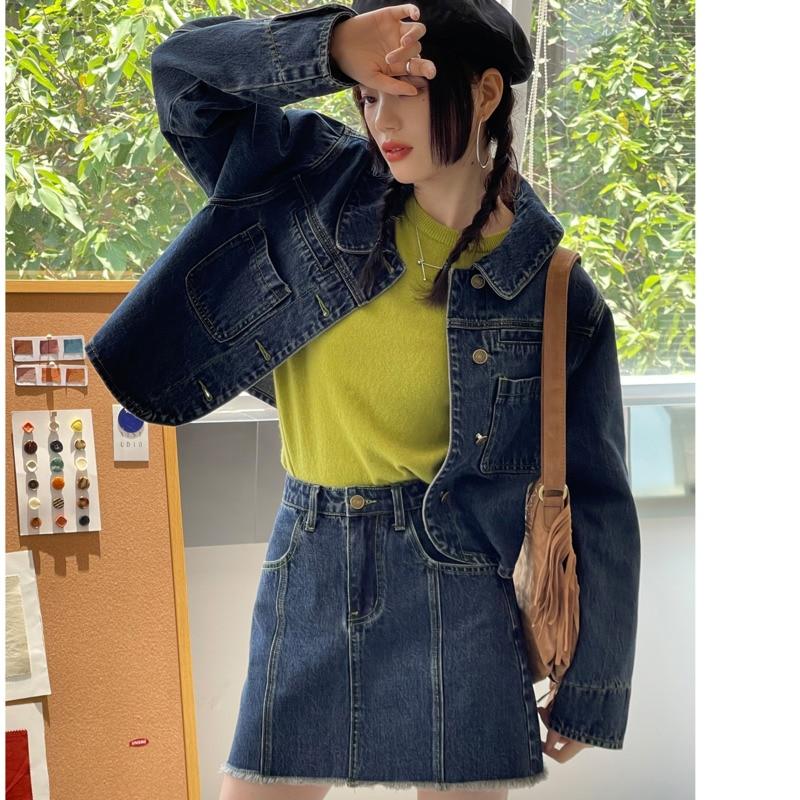 Women's Skirt Suit Korean Chic Contrast Denim Jacket Early Autumn Fashion Texture A Swing Dark Blue
