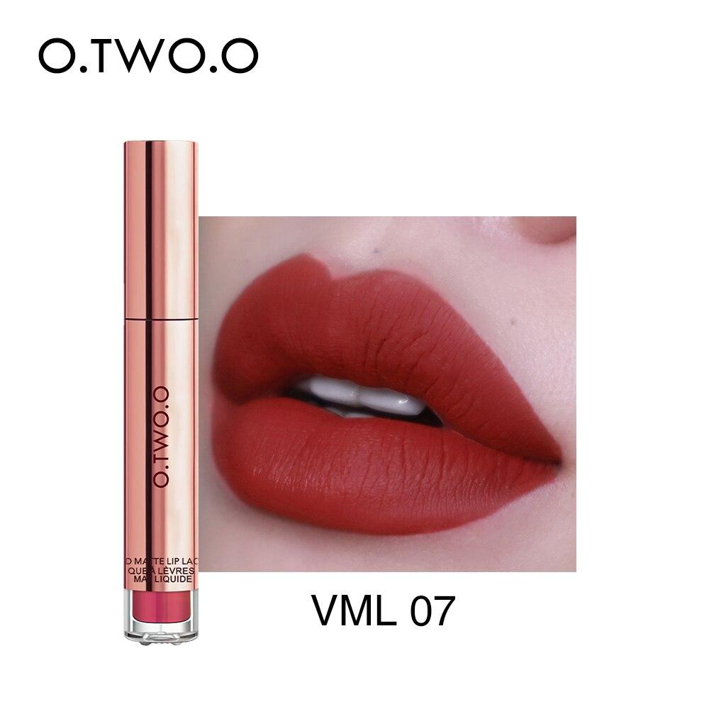 O.TWO.O lápiz labial mate líquido resistente al agua de larga duración de terciopelo brillo de labios maquillaje suave pigmento labial tinte labios rojos cosméticos
