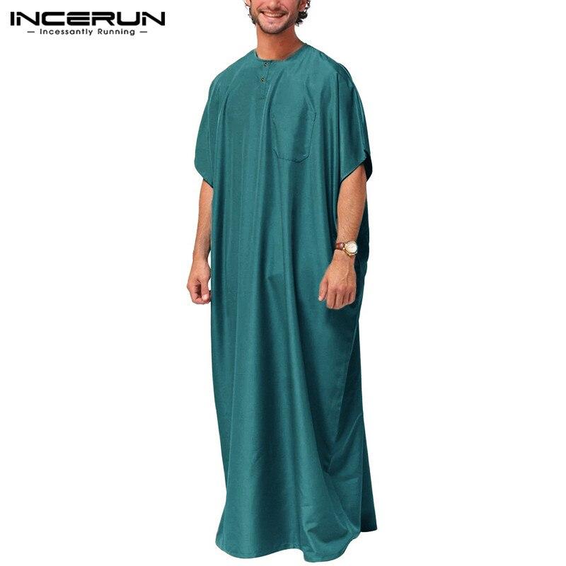 Homens Thobe Islâmico INCERUN Jubba Árabe Kaftan Robes Abaya Muçulmano Do Oriente Médio Sólida Manga Curta Soltas Do Vintage Roupas Plus Size
