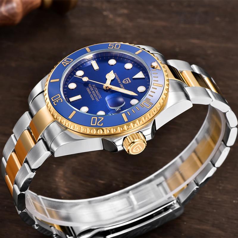 Pagani تصميم التلقائي ساعة ميكانيكية موضة الرجال ساعة اليد 316L مواد من الستانلس ستيل الياقوت الزجاج 10Bar ساعة الغوص